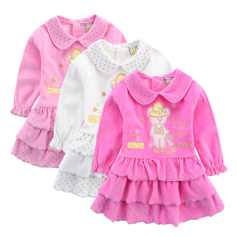 Little Q Baby Long Sleeve 3pcs/lot Dresses Kids Velour Undershirts Children Knee Length Dress Ball Gown Clothes Party Clothing