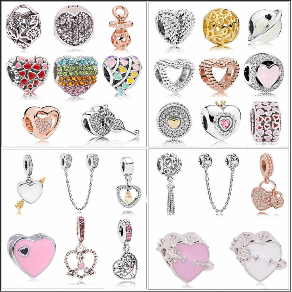 Fit Original Pandora Charm Bracelets & Bangles DIY Jewelry New Arrival Love Heart Flower Forever Cartoon Crystal Beads