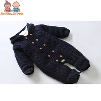 Winter Clothes Newborn Baby Boy Girl Knitted Sweater Jumpsuit Hooded Kid Toddler Outerwear Thick Warm Infant Baby Rompers