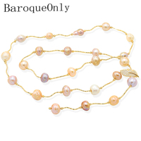 BaroqueOnly High Quality Natural Freshwater Pearl long sweater chain multi colour pearls irregular Pearl Jewelry baroque style