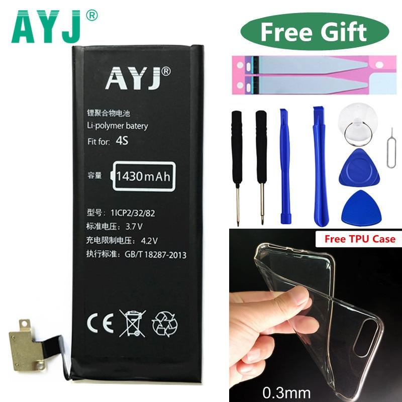 100% Original AYJ Batteria For iPhone 4s iPhone4s GSM/CDMA Brand New 1430mAh Batarya Replacement Battery Li-ion Batteries Free T