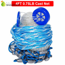 4 Feet Radius 0.75LB Fishing Cast Net American Heavy Duty Real Lead Weights Hand Throwing Trap Net With Plastic Bucket