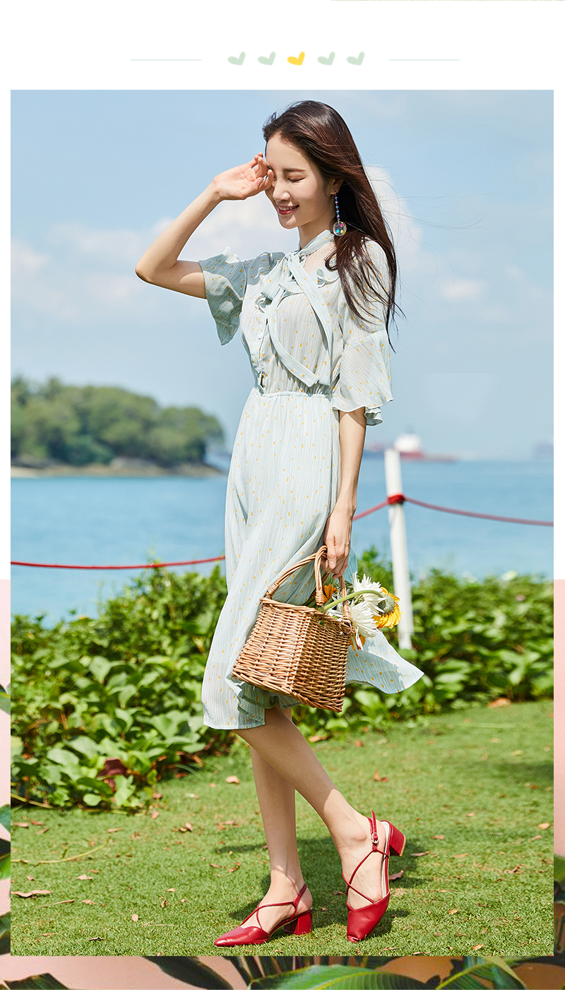 Semir Female Dress 2018 Summer New Chiffon Romantic Sweet Fresh Bow Beach Women Dresses Lace Stitching Sweet Strap Clothes Lady 9