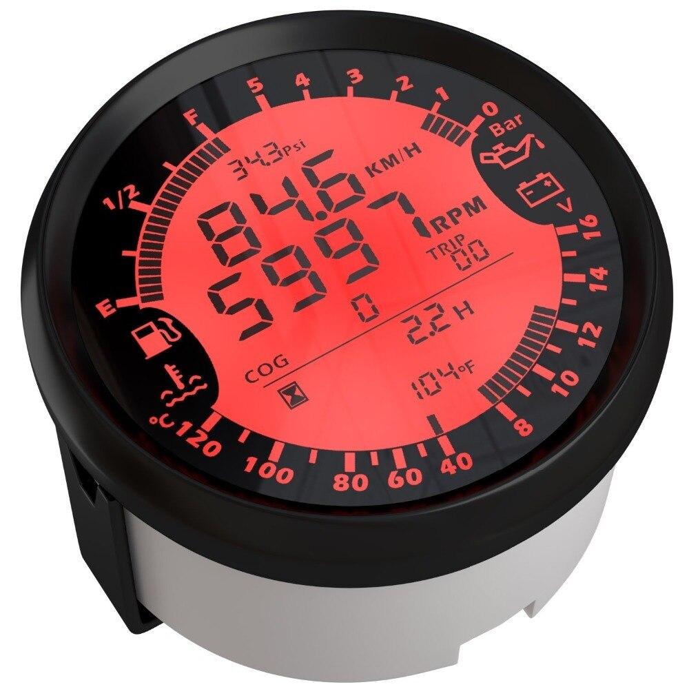 Universal 85mm 6 in 1 Digital Multi functional Gauge Speedometer Tachometer Fuel Gauge Oil Pressure Volt