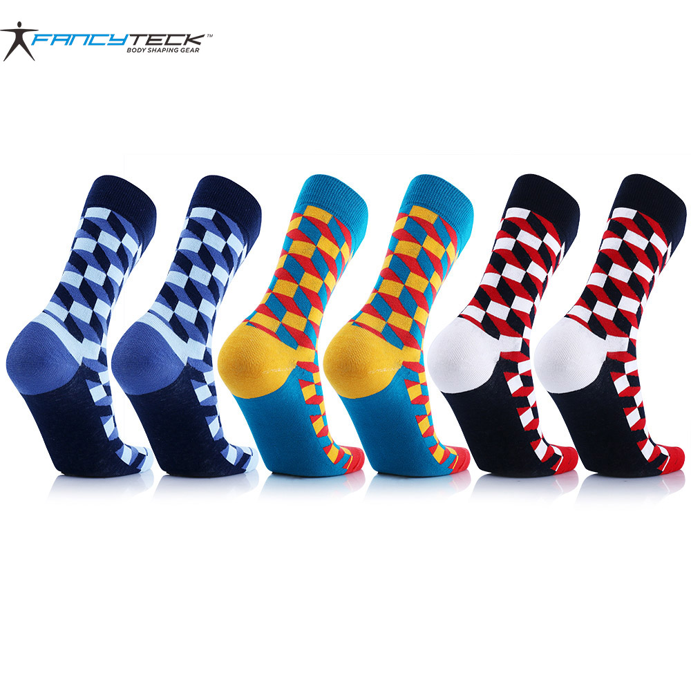 6 Pair Mens Cotton Socks Comfortable Compression Socks Colorful Happy Socks 2017 Brand New Fit For Man Woman Gift