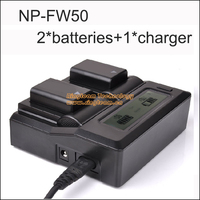 2Pcs NP FW50 NPFW50 NP FW50 Battery LCD Dual Charger For Sony NEX 5 NEX 5A
