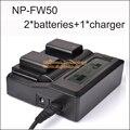 2 Unids NP-FW50 NP FW50 NPFW50 Batería + LCD Dual Cargador para sony nex-5 nex-5a nex-5c nex-5d nex-5db alfa 7r ii cámaras digitales