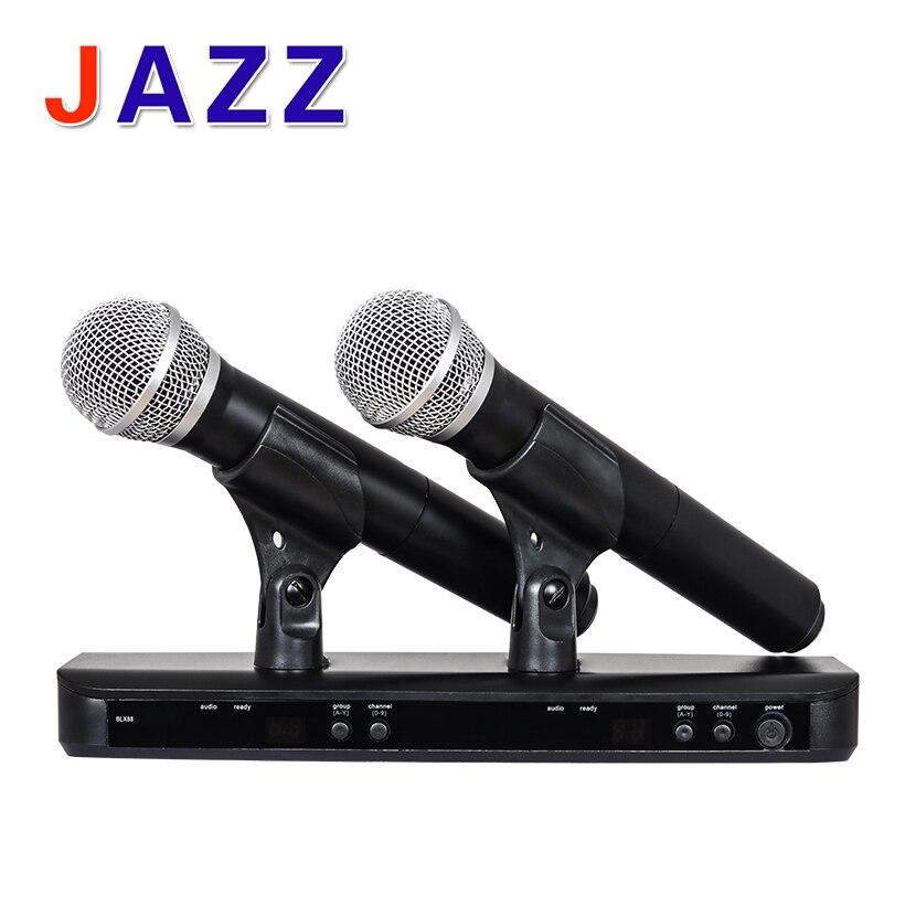 Haute qualité BLX288/PG58 BLX88 PG58A UHF Sans Fil Microphone Karaoké Système Avec PG58 Double Émetteur De Poche UT4 TPYE Mic