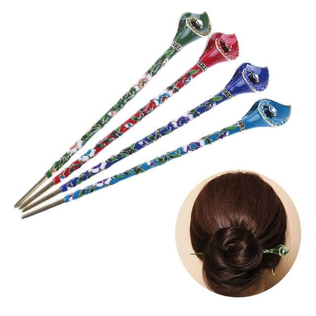 New Women Metal Rhinestone Handmade Hair Stick Chopsticks Hairpin Pin Chignon Accessories