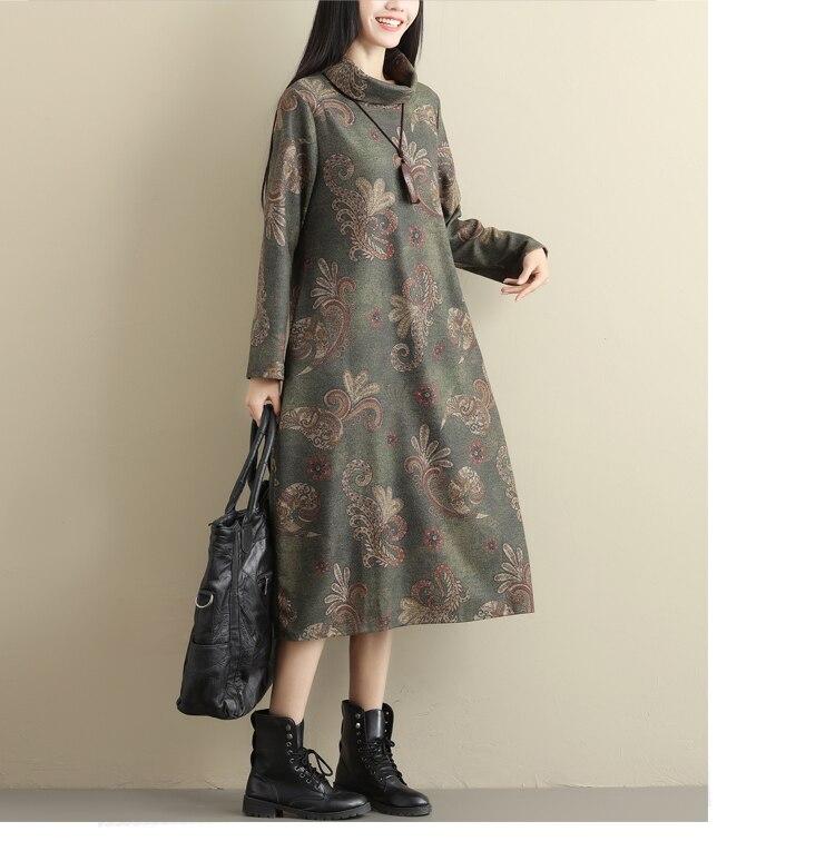 2018 Winter Wool Dresses Women's Elegant Oversized Turtleneck Long Sleeve Floral Patterned Tunic Dress Ladies Loose Vintage