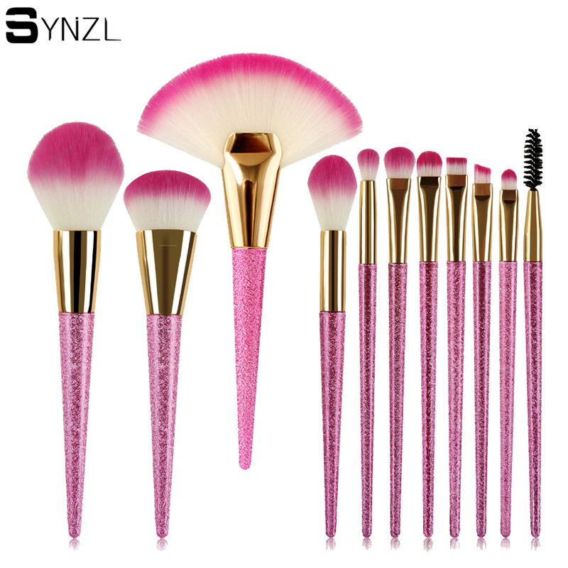 wholesale 20sets/lot 10pcs pink glitter makeup brush set big fan brush powder blush eyeshadow brushes