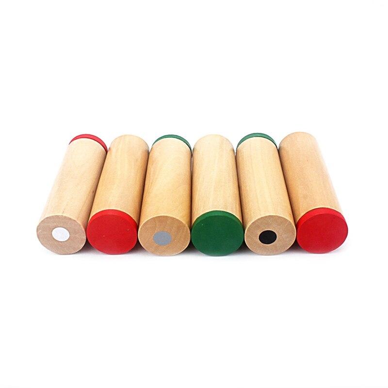 Material Montessori juguete Sensorial tres pasos Cubo de sonido alto/medio/bajo tono bebé educativo colección de sonido sacudida tubo