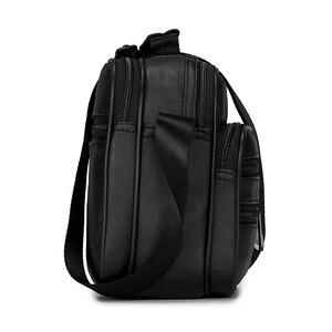 Image 5 - Męska torba z prawdziwej skóry torebka na ramię ze skóry bydlęcej na męskie torby Crossbody czarne Retro wielofunkcyjne torebki