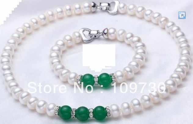 Jewelry 00406 Natural 9-10mm white AAA+ pearl&jade necklace/bracelet sets(3length can choose) (A0423)