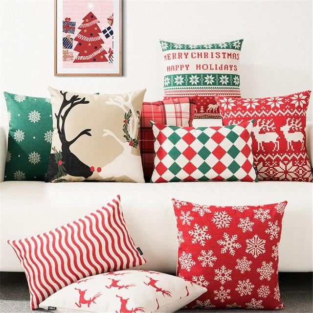 Buon Natale Decorativo Coperte e Plaid Cuscino Fodere per Cuscini Caso di Neve D
