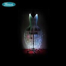 DIY шикарное волоконно-оптическое свадебное платье с 7 изменением цвета, 450 шт. волоконно-оптические штаммы, пульт дистанционного управления