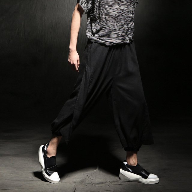 New men's linen casual trousers loose dancing pant,street fashion hip-hop bloomers casual pants K955