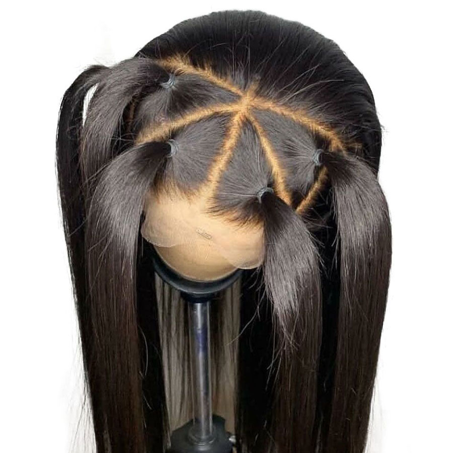 Elva Hair 360 Lace Frontal Wig Pre-Plucked With Baby Hair Lace Front Human Hair Wig For Black Women Brazilian Straight Remy Hair