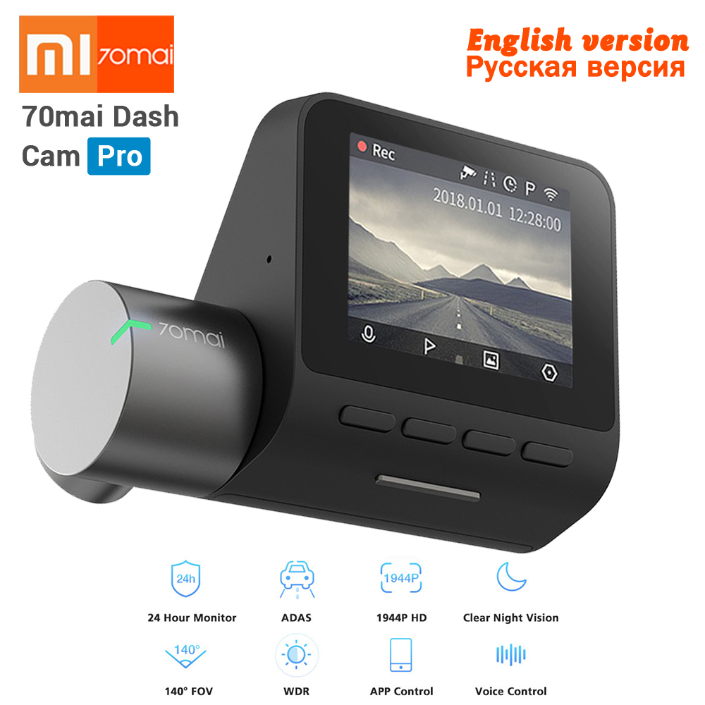 New Xiaomi 70mai Dash Cam Pro GPS IMX335 WIFI Voice Smart Control Night Version DVR 1944P HD 140FOV Car Cam 24H Parking Monitor