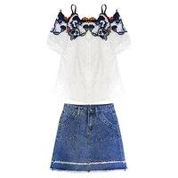 new women's flowers emboridery white shirt & denim Bull puncher skirt sweet girl 2 pcs clothing set design outfit vestido S XL