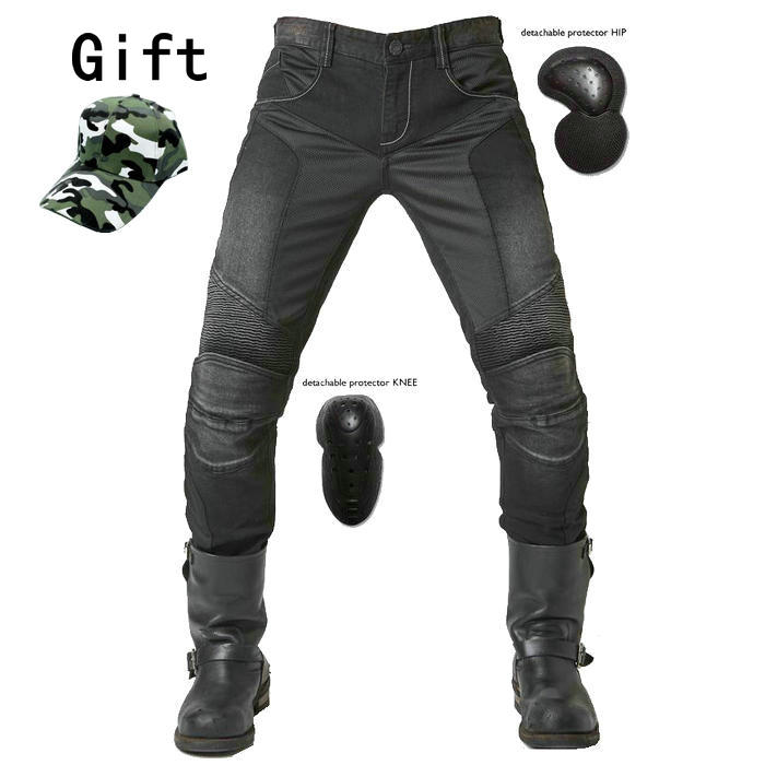 UglyBROS JUKE UBP 01 Jeans Black Summer Mesh Breathable Men's Jeans Motorcycle Protective Pants Racing Pants Moto Pants