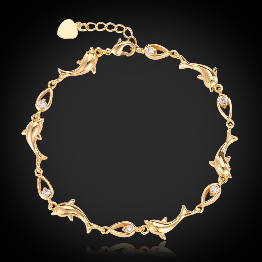 18k Real Gold Plated Cute Charm Bracelets H313