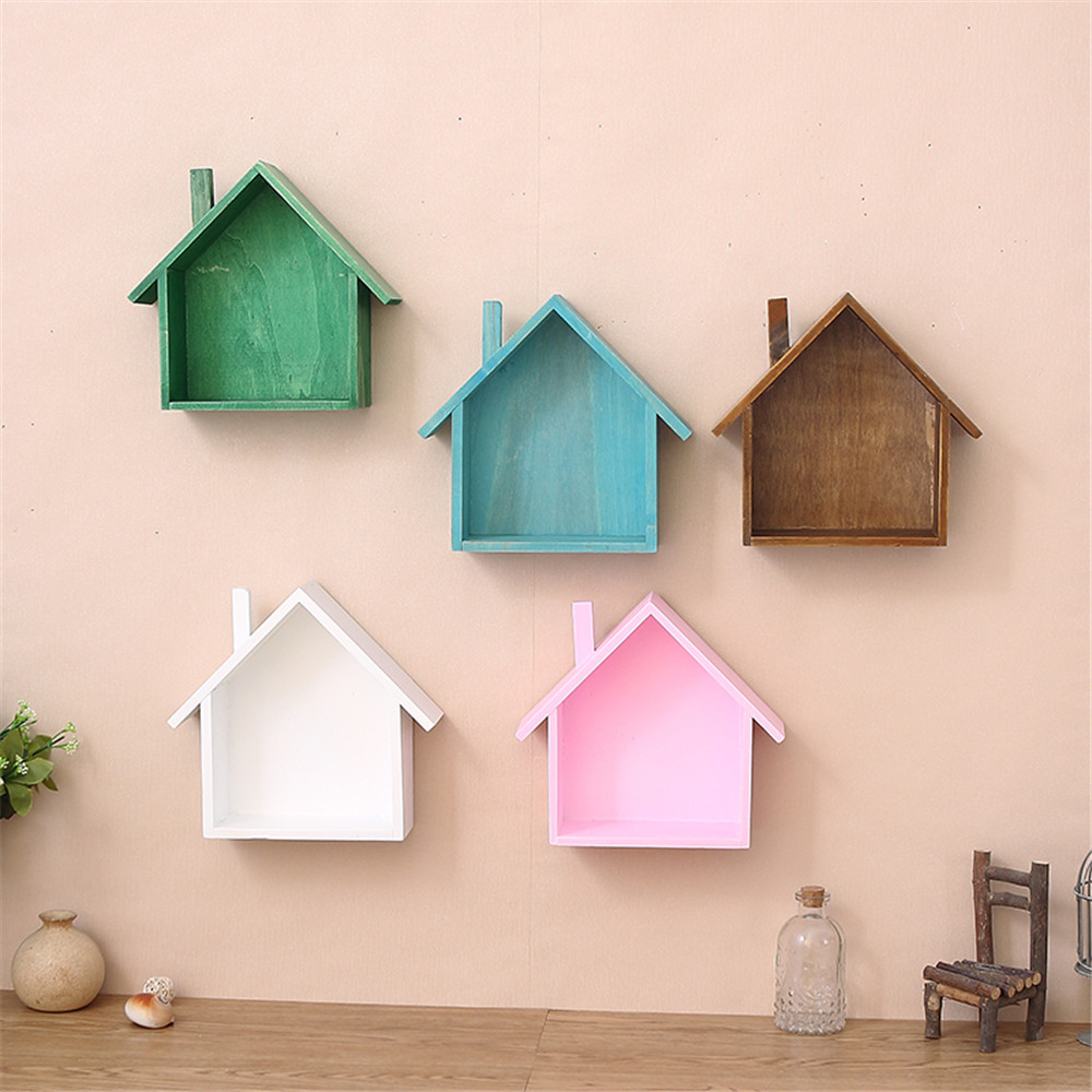 Wall Decor Wooden Us 11 65 32 Off Wooden Wall Decor Retro Village Colored Small House Wall Shelf Hanging Organizer Christmas Wall Decorations For Home Living Room In