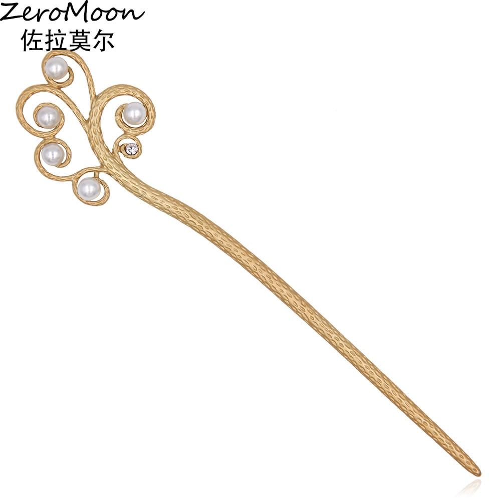 Китайски стил матово злато клон перли метални пръчки за коса жени Винтидж модни бижута за закопчаване