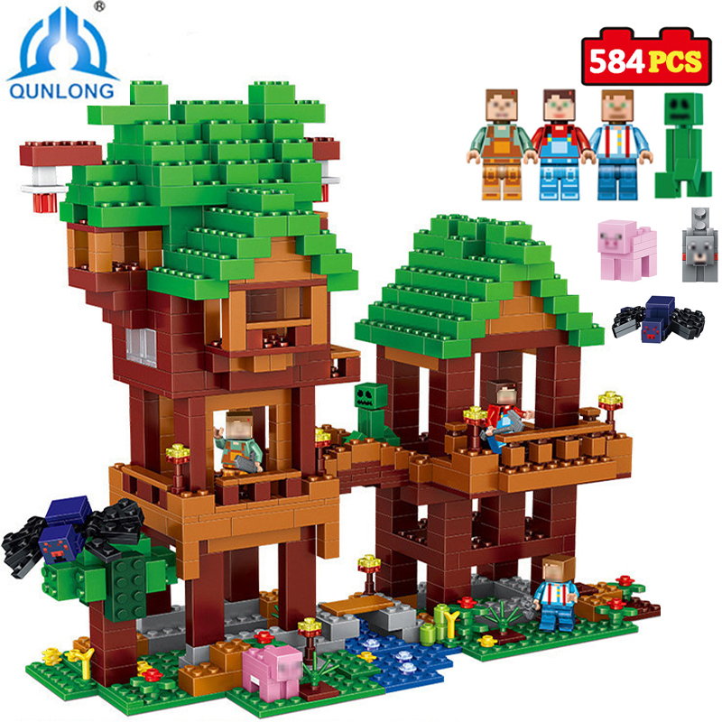 584pcs MY World Building Blocks DIY Tree House Bricks Block Enlighten Toys For Kids Gift Compatible Legoings Minecraft City lepin 18010 my world 1106pcs compatible building block my village bricks diy enlighten brinquedos birthday gift toys kids 21128