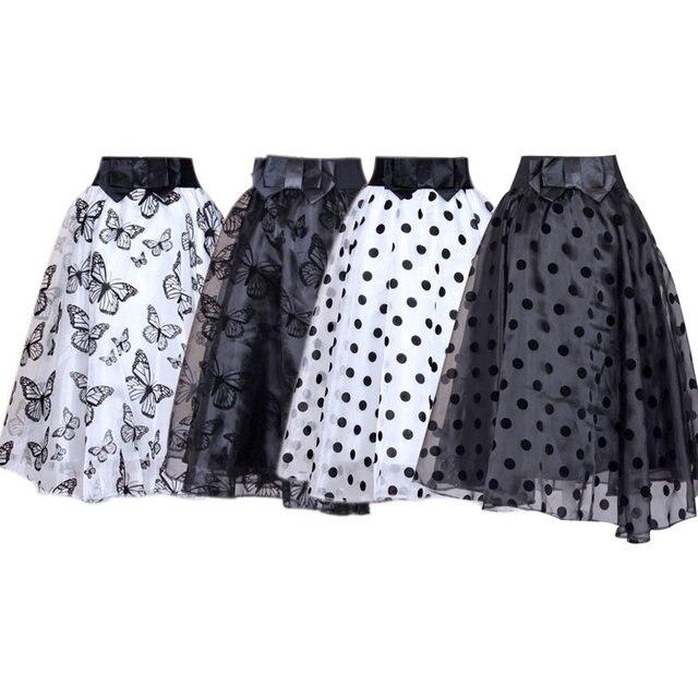 2016 Nuevas Mujeres Puff Organza Falda de Tul de Cintura Alta Longitud de La Rodilla Plisado Tutú Faldas Grunge