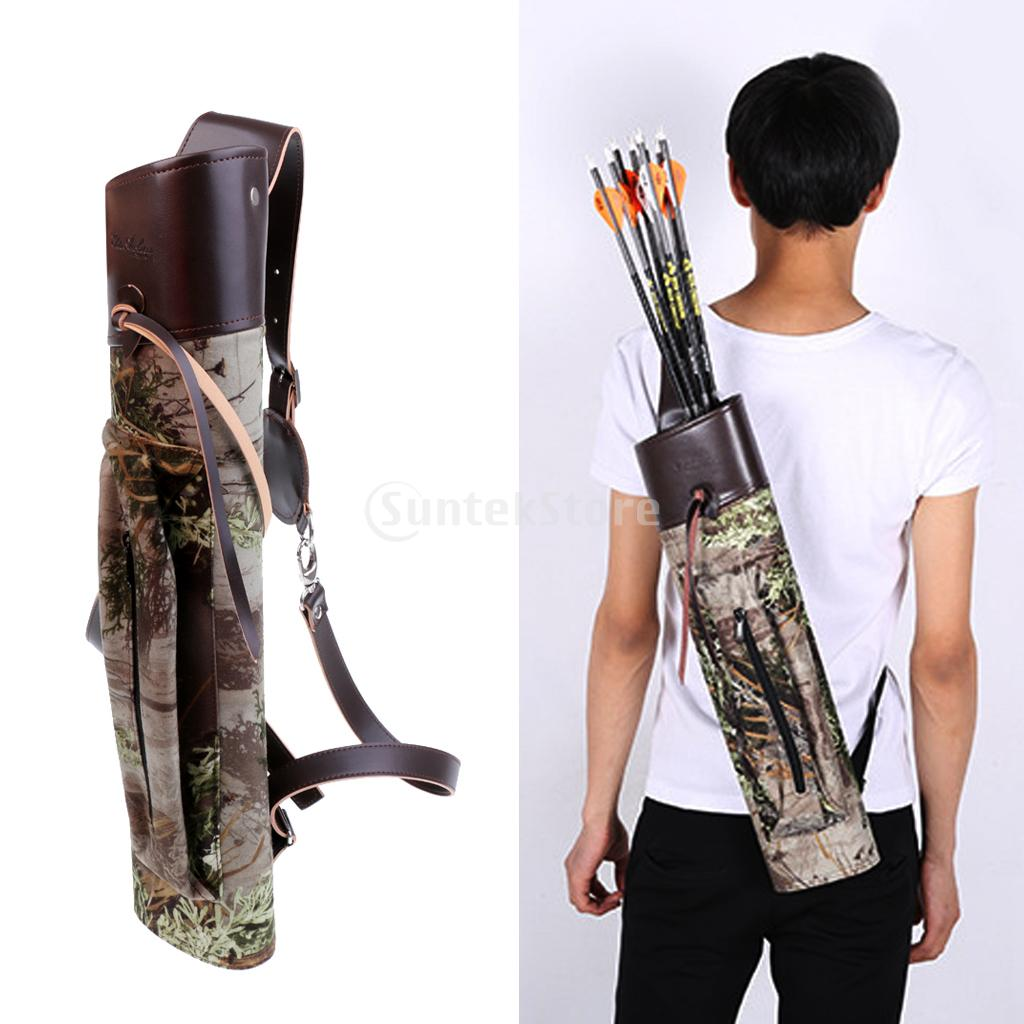 20 Camo Back Quiver Arrow Bag Target Hunting Shoulder Belt Strap Bow Arrow Archery Holder with Zipper Pocket dmar archery quiver recurve bow bag arrow holder black high class portable hunting achery accessories