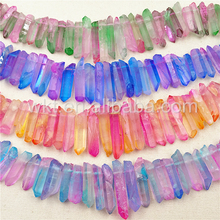 WT-G219 Wholesale New color Aura crystal quartz strand for jewelry design, New double color raw crystal quartz strand stone