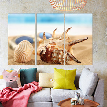 No Frame Canvas Painting Shell Landscape Home Decor Seaview Poster Decorative Paintings Modern Wall Art Print Modular 3 Panel