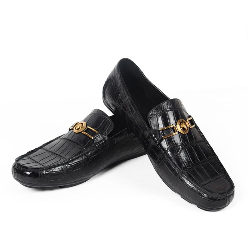 Купить с кэшбэком Vikeduo 2020 Handmade Luxury Shoes Fashion Party Casual Designer Moccasins Alligator Genuine Leather Crocodile Skin Men Shoes