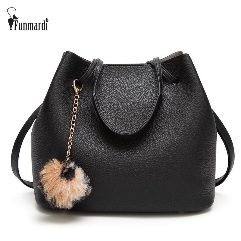 FUNMARDI Fur Ball Pendant Women Handbags Fashion Composite Bag Vintage PU Leather Bags Warm Bucket bag Famous Women Bag WLHB1719