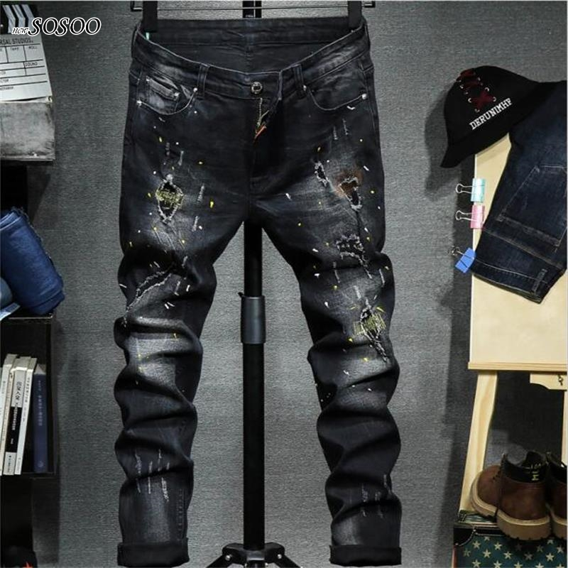 2018 new men jeans ripped jeans for men biker jeans European and American style slim fit high quality fashion #1711 black navy m xxl quality 2017 spring new arrival ripped jeans for men fashion brand men jeans slim fit jeans men jx01