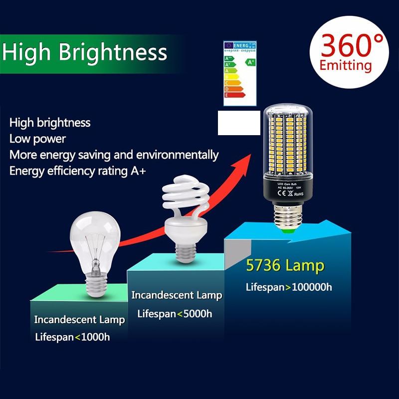 Bombilla LED de mazorca de maíz, 5736 SMD, más brillante, 5730, 3,5 W, 5W, 7W, 8W, 12W, 15W, E27, E14, 85V-265V, sin parpadeo, blanco frío/cálido
