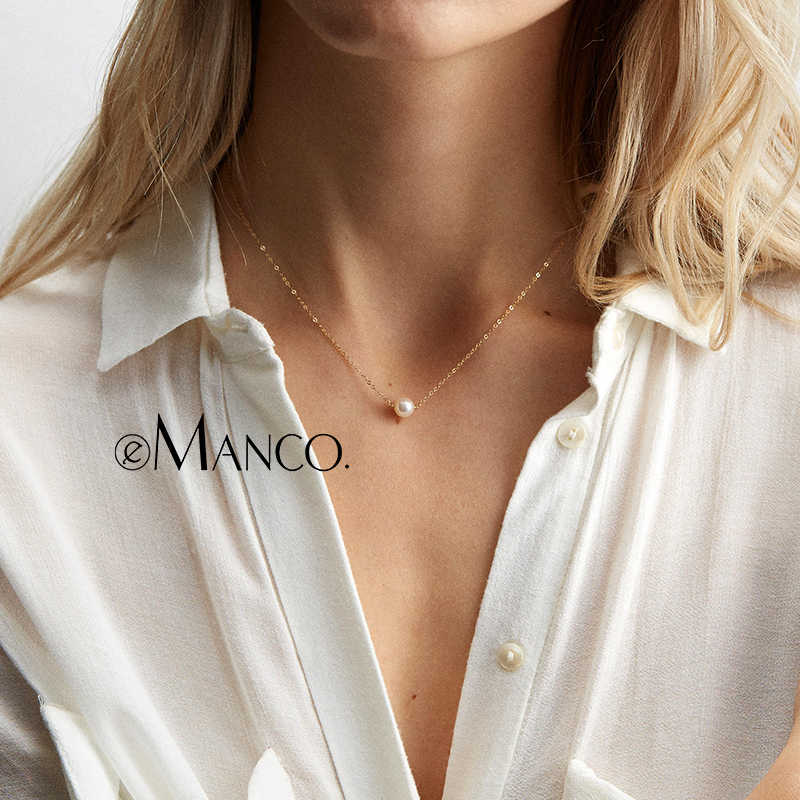 e-Manco Pearls Gold Chain Necklace 925 Silver White Pearls Necklace For Women Rose Gold Chain Necklace Fine Jewelry