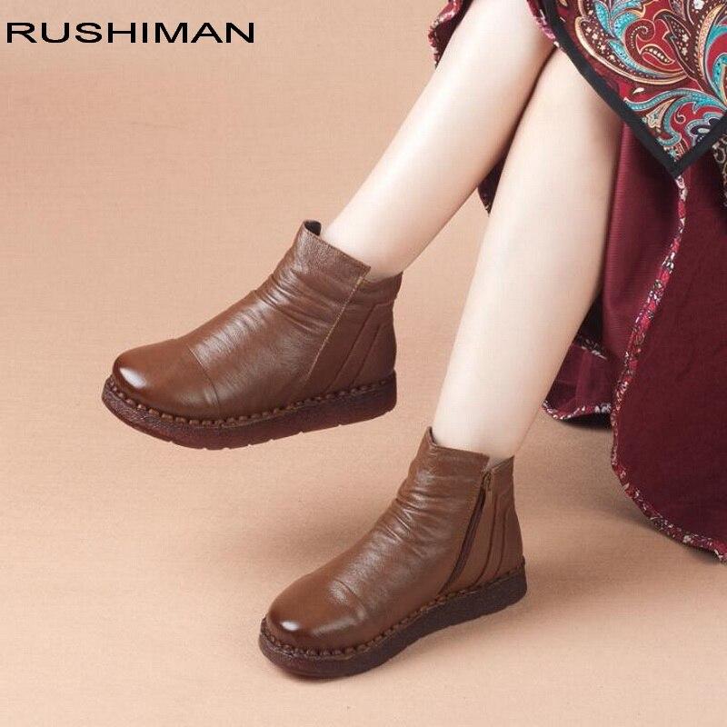 RUSHIMAN 2018 femmes bottes hiver en cuir de vache à la main bottines chaussures plates solide en cuir véritable bottes de neige pour les femmes