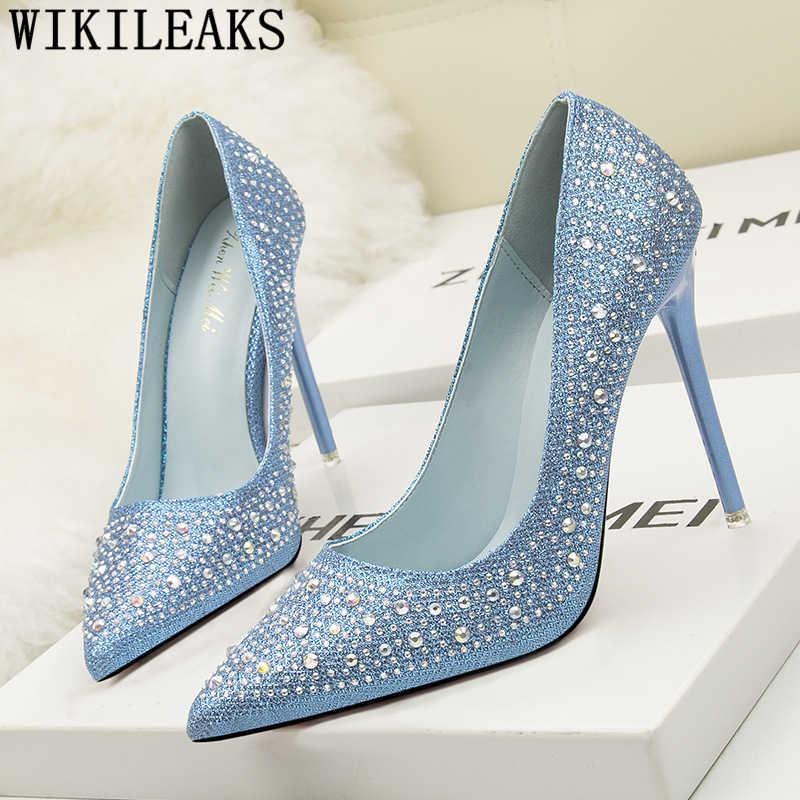 Scarpe da sposa argento tacchi di cristallo scarpe fetish tacchi alti del partito scarpe di strass tacchi a spillo zapatos mujer 2019 tacones buty