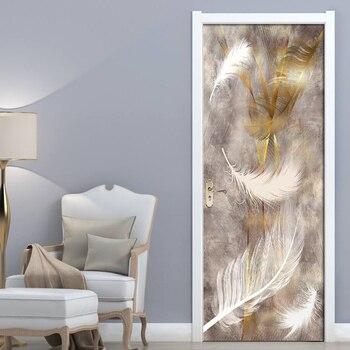 3D Print Feather Poster PVC Waterproof Entire Door Sticker Creative Stickers Door Wall Sticker DIY Mural Bedroom Home Decor