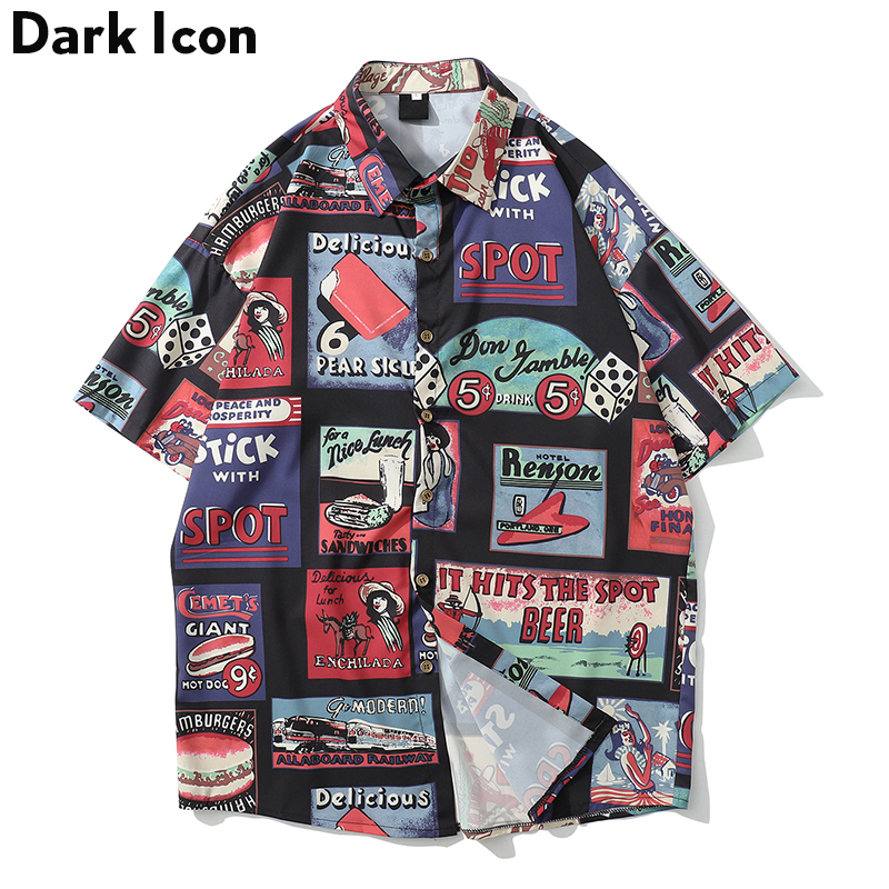 Dark Icon Full Printed Hawaii Shirt Men Turn-down Collar Men's Shirt Street Shirts For Men