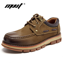 MVVT Genuine Leather Boots Men Winter Safety Work Super Quality Autumn Wear-Resisting Rubber Ankle Boot Shoes