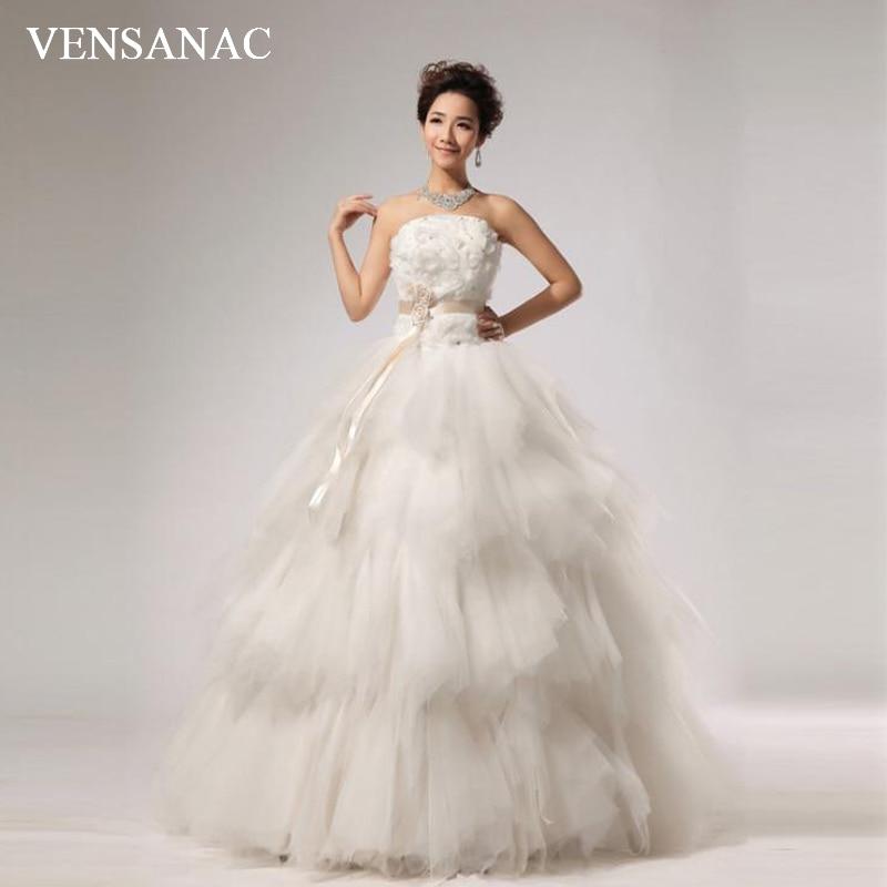 Elegant Wedding Ball Gowns: VENSANAC 2018 Crystal Strapless Flowers Sash Ball Gown