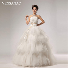 VENSANAC 2018 Crystal Strapless Flowers Sash Ball Gown Lace Wedding Dresses Elegant Feathers Backless Bridal Gowns