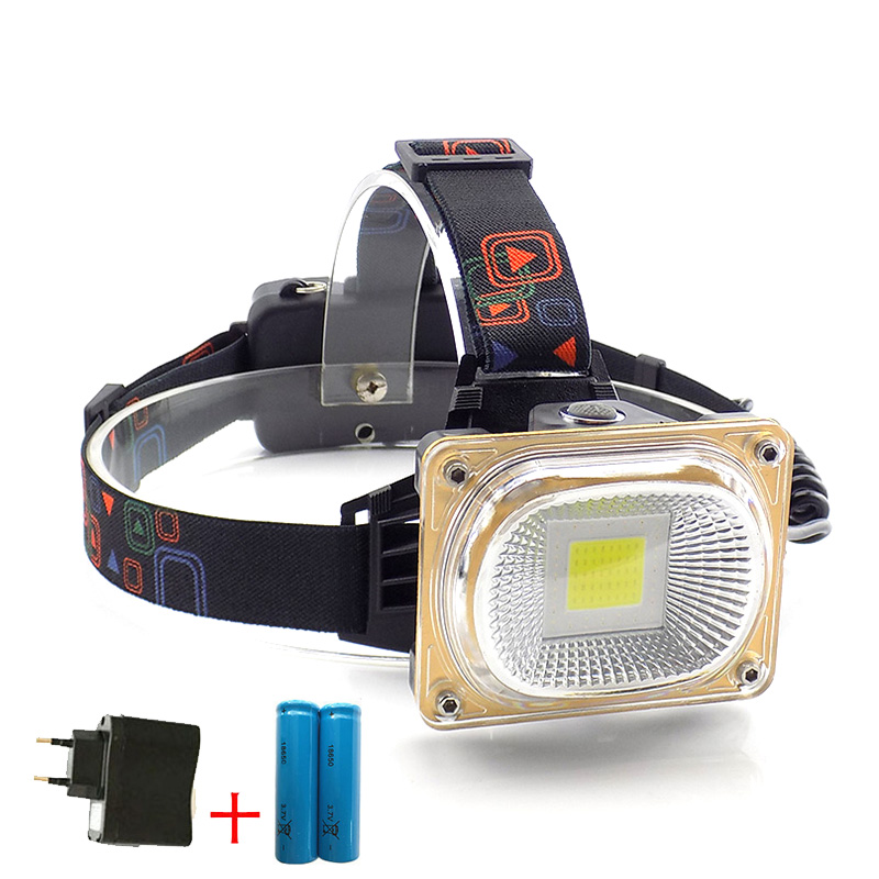 COB LED Headlight Headlamp Flashlight Head Light Torch Lantern + 18650 Battery White Blue Red led Light outdoors Fishing Camping cob led headlamp rechargeable cob headlight white red green lights 18650 battery head torch flashlight for hunting night fishing