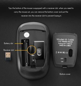 2.4Ghz Wireless USB Silent Noiseless Mouse 1600 DPI Ergonomic Mice for Laptop 4