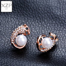XZP Punk Lovely Leopard Animal Earrings Women Panther Pendant Crystal Pearl Charm Rose Gold Color Luxury Brand Jewelry