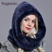 Raglaido winer haube hut kaninchen fell mode echt rex pelzmütze für frauen schnee warme kappe große gestrickte hut LQ11283
