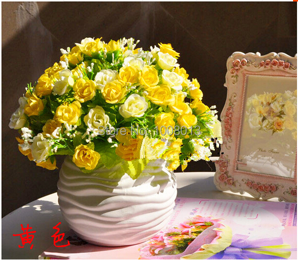 Set potted artificial flowers silk flower arrangement of dried set potted artificial flowers silk flower arrangement of dried flowers placed in the living room decorative mightylinksfo